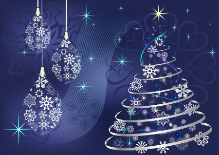 Christmas background with Christmas tree and hanging baubles  Vector