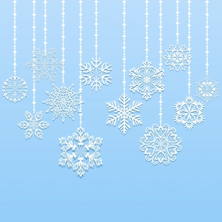 Christmas hanging snowflakes background with copy space Stock Vector - 15586706