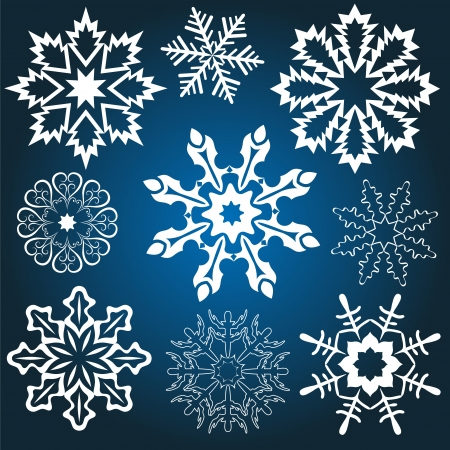Set of snowflakes isolated on blue background Stock Vector - 15586703