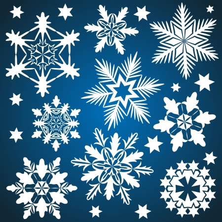 Set of vector snowflakes isolated on blue background Stock Vector - 15586691