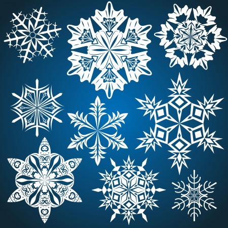 Set of snowflakes isolated on blue background Stock Vector - 15586701