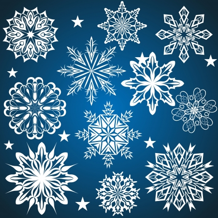 Set of snowflakes isolated on blue background   Vector