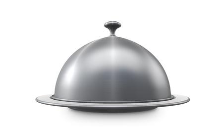 レストラン鋼白い背景で隔離のトレイを提供します。