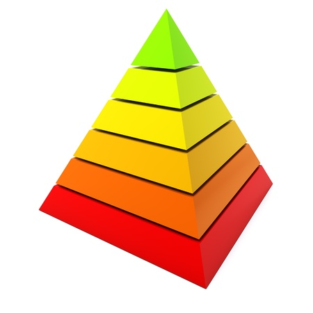 Color pyramid diagram isolated on white background  photo