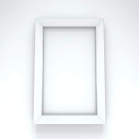 Blank white frame hanging on white wall Stock Photo - 15691327