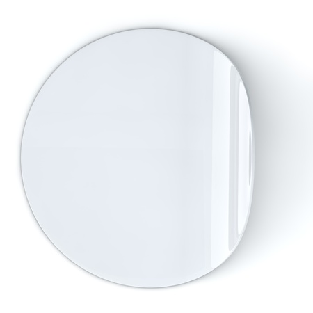 white sticker: Blank white round sticker with curled edge