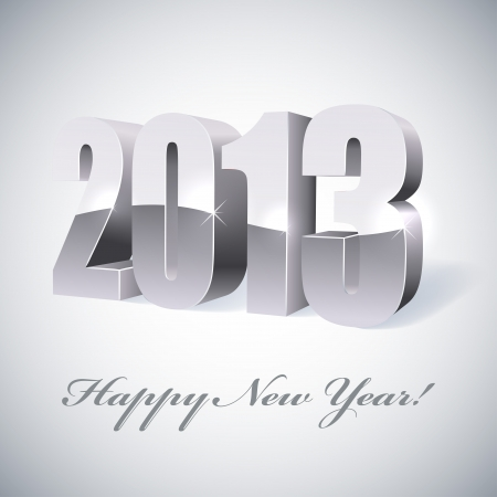 New 2013 year glossy silver figure Vector