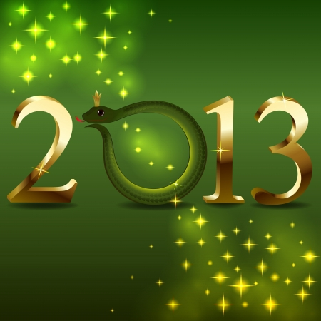 New 2013 year card with cartoon snake instead 0   Vector