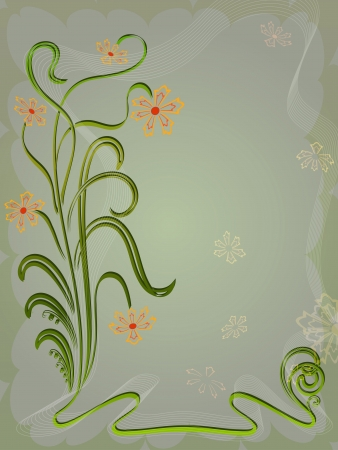 Dark green flower card with copy space  Vector