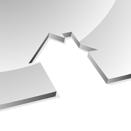 Grey house 3D shape concept image with white copy space