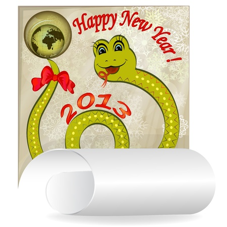 New 2013 year card with cartoon snake Stock Vector - 15691344
