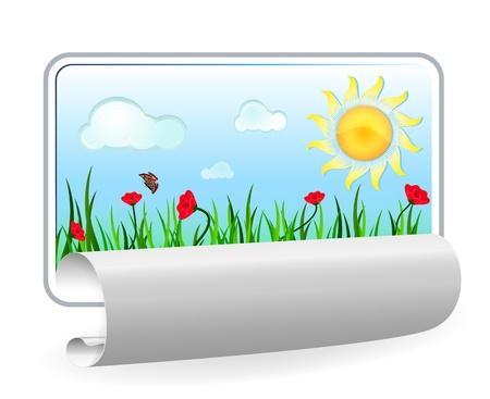 spring roll: Summer in paper frame with curl isolated on white background   Illustration