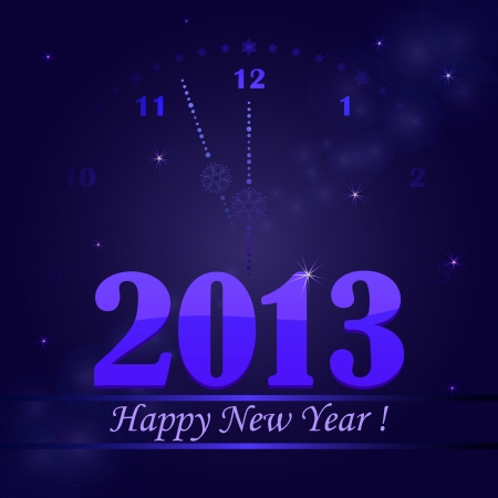 New 2013 Years card with clock in the background.  Vector