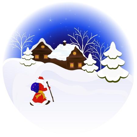 bag cartoon: Christmas night illustration with Santa Claus