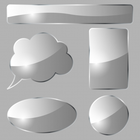 Abstract glass design elements isolated on gray background Stock Vector - 15900442