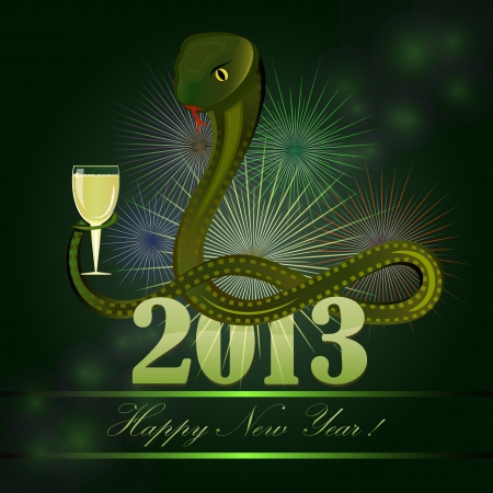 New 2013 year card with cartoon snake holding glass of champagne   Vector