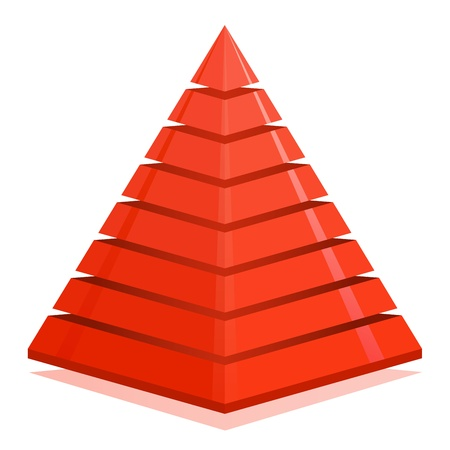 hierarchy: Red pyramid design element isolated on white background