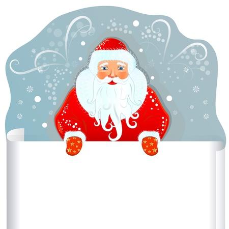 Kerstman met blanco vel papier Stock Illustratie