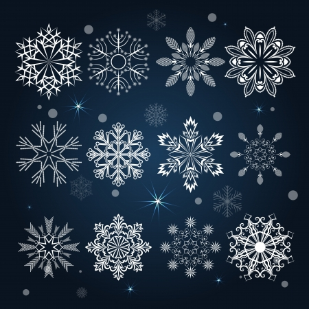 Set of snowflake shapes isolated on dark blue background Stock Vector - 15900499