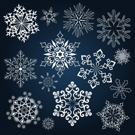 Set of snowflake shapes isolated on dark blue background Stock Vector - 15900446