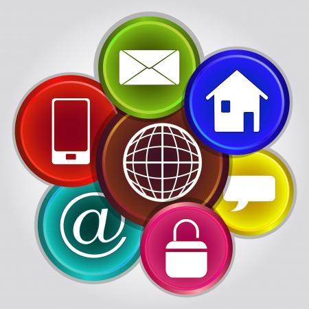 iconos contacto: Manojo de iconos de internet aislados sobre fondo gris Vectores