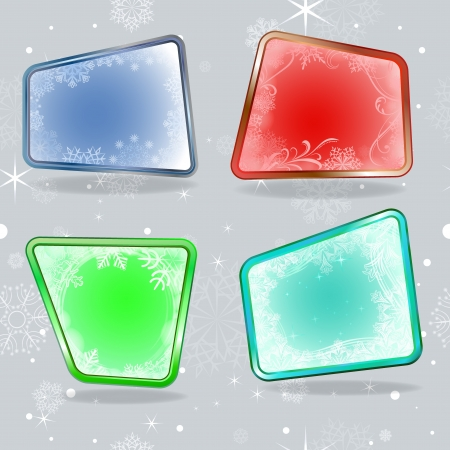 Abstract winter labels with snowflake ornaments illustration   Vector