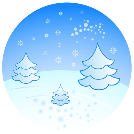Winter scenery with fir trees illustration   Vector