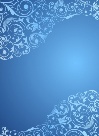 corner ornament: Blue vertical floral background with copy space. Illustration