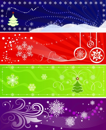 Set of color Christmas banners with snowflakes. Stock Vector - 15900644