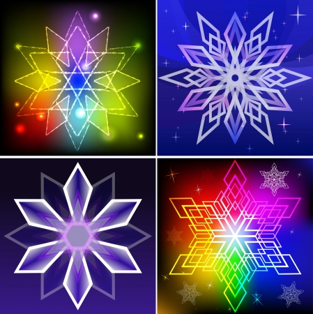 Set of colorful snowflake shapes backgrounds   Vector