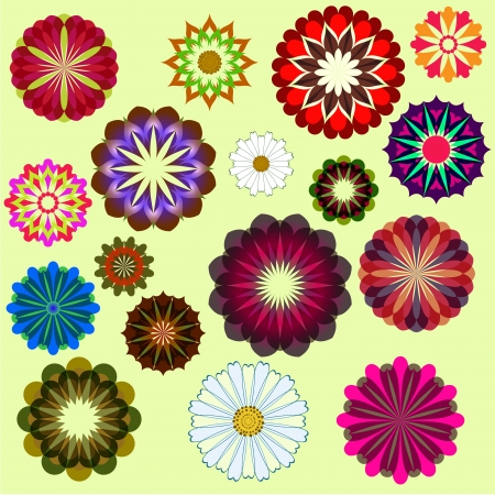 Abstract flower set isolated on yellow background Stock Vector - 15900637