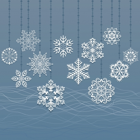 Christmas hanging snowflakes blue background  Vector