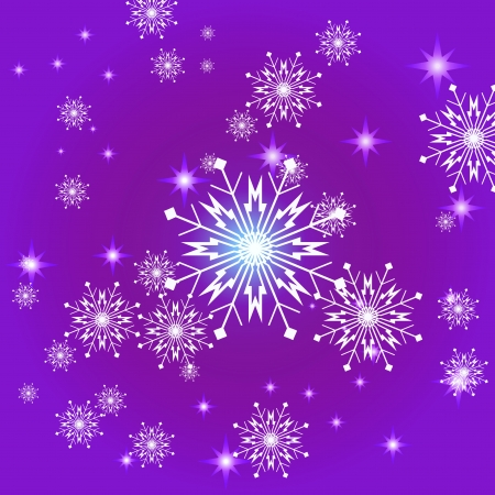 Snowflakes and stars violet square background