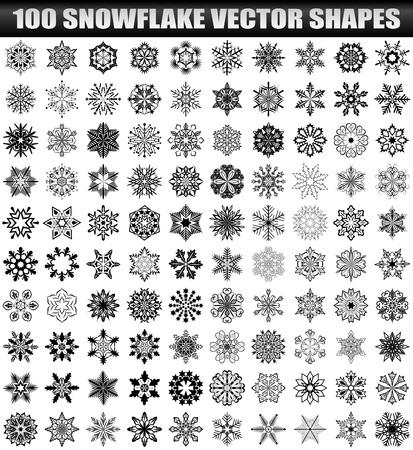Big set of snowflakes isolated on white background  100 shapes