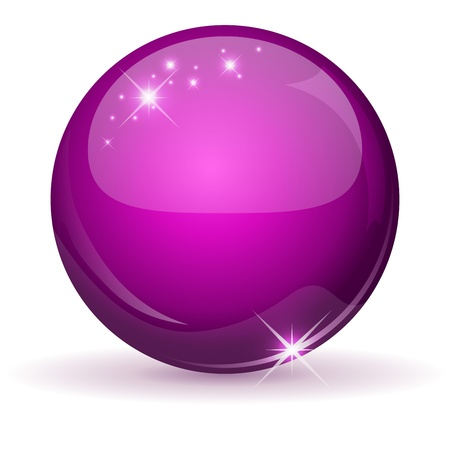 Pink glossy sphere isolated on white Stock Vector - 16023605