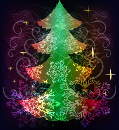 Colorful Christmas tree background with snowflake shapes Stock Vector - 16125674