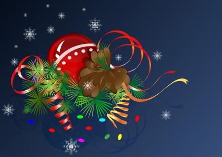Christmas  composition with cone and streamers  Vector