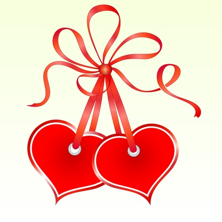 two hearts together: Two tied heart shaped tags