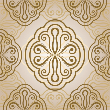 foliate: Seamless abstract flower bud  beige ornament   Illustration