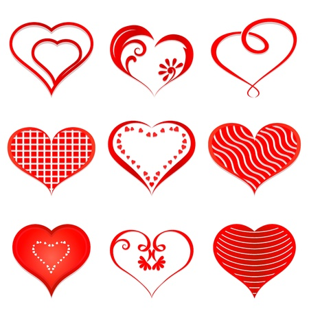 heart outline: Set of red  hearts isolated on white background
