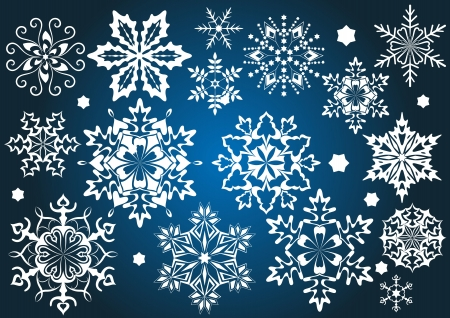 Set of  snowflakes isolated on blue background Stock Vector - 16125670