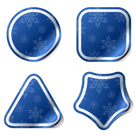 Christmas blue stickers with snowflake pattern  Vector