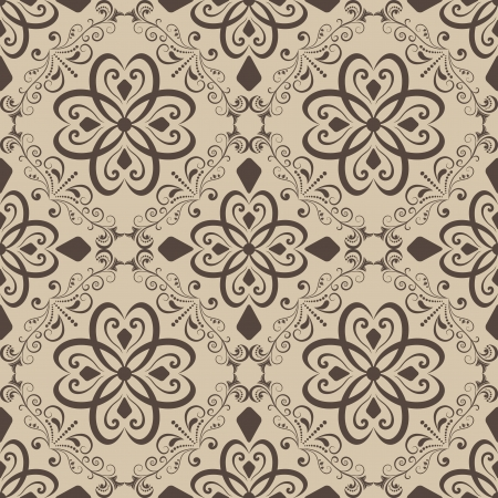 Seamless vintage beige  wallpaper background   Vector