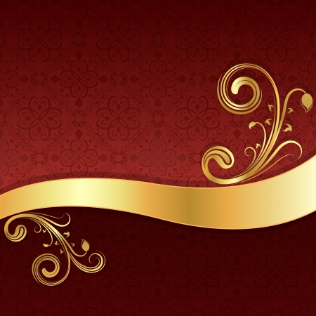Golden wave with floral decoration and red wallpaper background  Vector