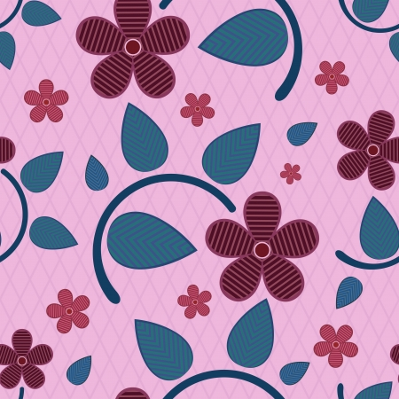 Abstract seamless striped flower vector pattern  Vector