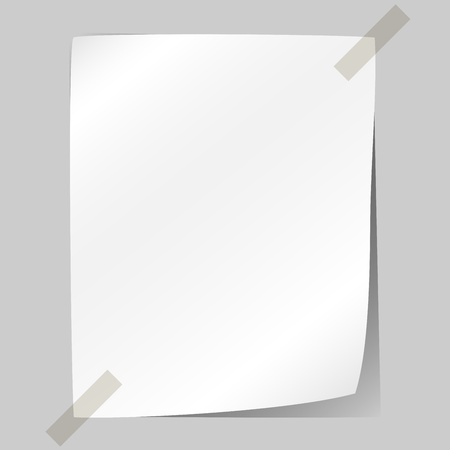 Blank white sheet of paper stuck to the wall