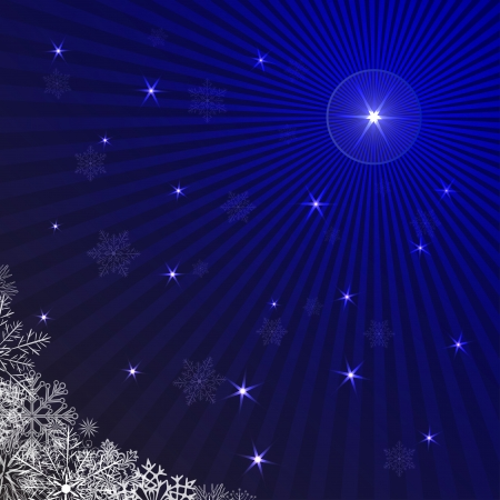 Blue rays Christmas background with snowflakes  Stock Vector - 16317260