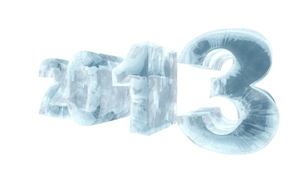 New 2013 year ice figures isolated on white background. photo