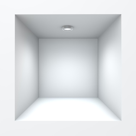 Empty square built-in shop self with illumination. Stock Photo - 16556845