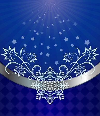 Christmas dark blue background with snowflake ornament Stock Vector - 17088393